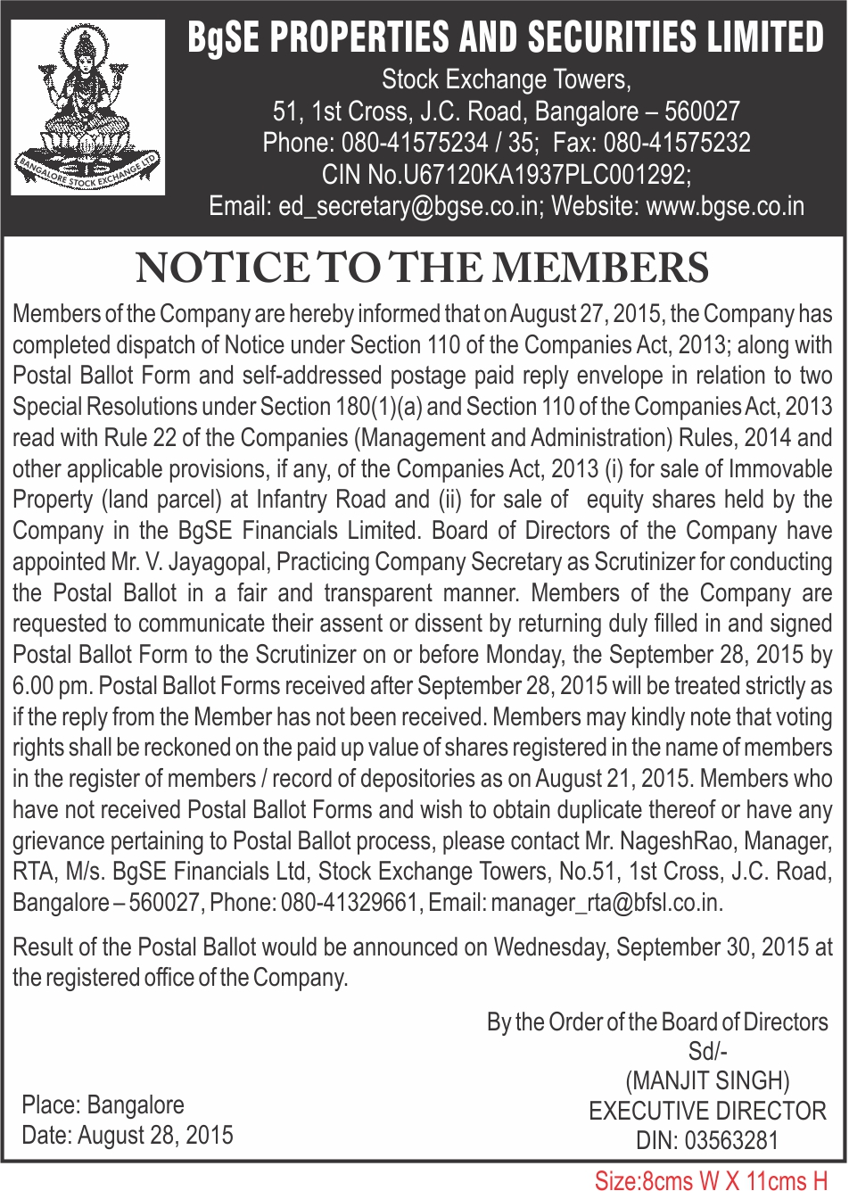 Despatch of Postal Ballot Notice to Shareholders